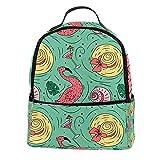 ATOMO Lässiger Mini-Rucksack, Doodle Sommermuster, Flamingo-Hut, Getränke, PU-Leder, Reise-Einkaufstasche, Tagesrucksäcke