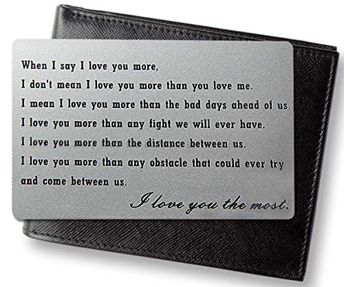 CQNET Engraved Wallet Insert Anniversary Gifts for Men, Metal Wallet Card Insert, Mini Love Note, Anniversary Cards for Husband, Boyfriend Gifts