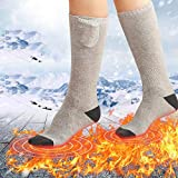 Queta Chaussettes Chauffantes Electrique Chaussette Ski Thermique Chauffe-Pieds Rechargeable Isolation Thermique Compatible avec Tous Les Chaussures pour Ski/Pêche/Randonnée/Camping (Gris)