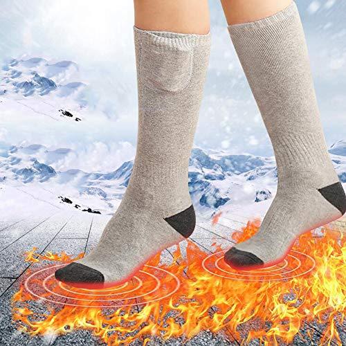 Queta Calcetines térmicos Eléctricos, Calcetines Calefactores Unisex Calcetines Térmicos Recargables para Hombres Mujeres Calentadores de Pies para Esquí Senderismo Moto Caza al Aire Libre (Gris)