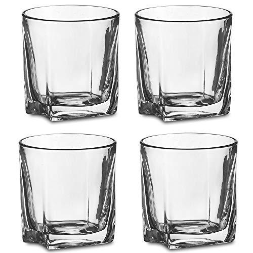 Amisglass Juego de Vaso de Whisky, Vaso Set 4 Piezas de Cristal...