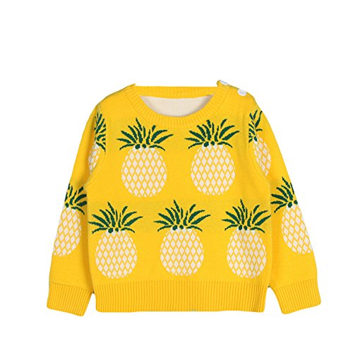 Toddler Unisex Baby Crew Neck Long Sleeve Cotton Pineapple Print Knit Pullover Sweater Jumper (12-18 Months, Yellow)