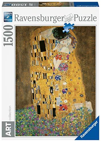 Ravensburger Puzzle 1500 pezzi, Dimensioni Puzzle: 80x60 cm, Collezione Arte, Puzzles da adulti, Dipinti, Quadri Famosi, Puzzle Art Collection, Museum, Il Bacio di Klimt