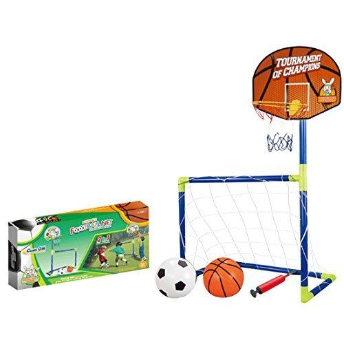 LoKauf 102cm Kinder 2 in 1 Fußballtor Basketballkorb Set mit Pumpe Ball Training Spielzeug