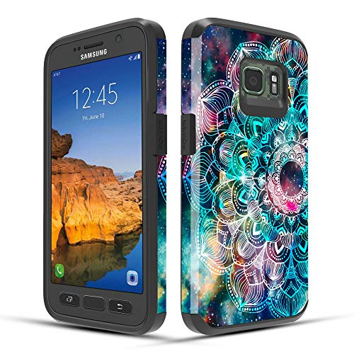 Samsung Galaxy S7 Active Case, Townshop Dual Layer Shockproof Hybrid Design Case for Samsung Galaxy S7 Active - Mandala in Galaxy