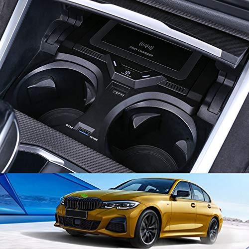Cargador de coche inalámbrico para BMW 3 Series 2020 2021, almohadilla de cargador de teléfono de carga rápida de 15 W con USB QC3.0 para iPhone 12 Pro MAX Mini 11 / XS MAX / XR / 8, Galaxy S20 / S1