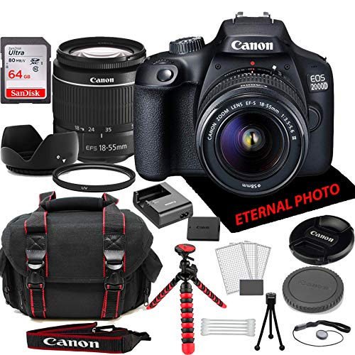 Canon EOS 2000D Rebel T7 DSLR Camera w/Canon EF-S 18-55mm Zoom Lens, 64GB Memory Card, Camera Case (20 Piece Bundle)