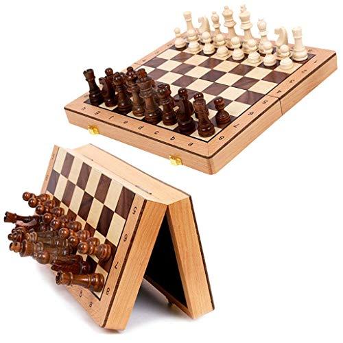 Juego de ajedrez conjunto de ajedrez, conjunto de placa de ajedrez magnético, placa plegable, tablero portátil con almacenamiento, tablero internacional de juegos de ajedrez para juguetes de viaje Jue