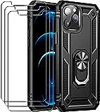 ivoler Funda Compatible con iPhone 12 Pro MAX 6.7 Pulgadas con 3 Cristal Vidrio Templado Protector de Pantalla, Anti-Choque Carcasa con Anillo iman Soporte, Hard Silicona TPU Caso - Negro