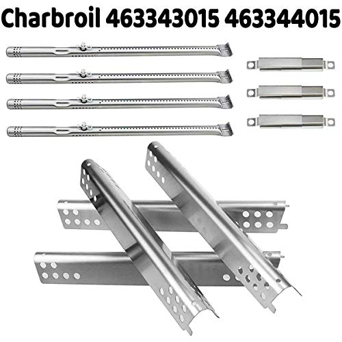Utheer Grill Parts for Charbroil Advantage Series 4 Burner 463240015, 463240115, 463343015, 463344015 Gas Grills, Included Stainless Steel Burner Tube, Heat Plate Shield, Adjustable Crossover Tubes Burners Grill