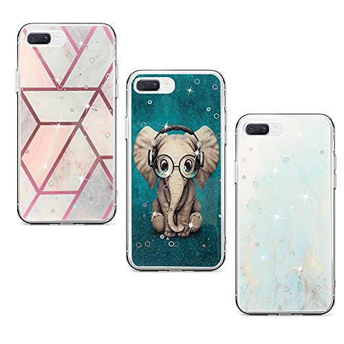 Weby [3-Pack] Funda Compatible con Apple iPhone 7 Plus 8 Plus 6 Plus 6s Plus Elefante Azul Dorado Mármol, Transparente con Dibujos Silicona Protector Carcasa Case Cover