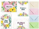 20 Karten & 20 Umschläge: Klappkarten Grusskarten – Blumen – DIN A6 im Set, Grußkarten Gruß Frühling Alles Gute, Liebe Grüße, Ich denke an Dich, zum Geburtstag
