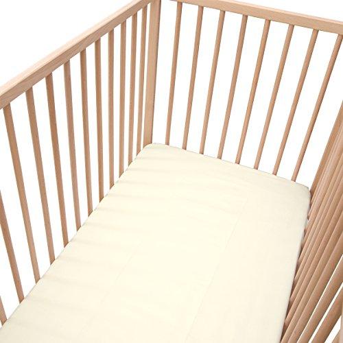 Ecru Clair/Lot de 2 Draps Housse - Pati'Chou Linge de lit pour bébé 70x140 cm