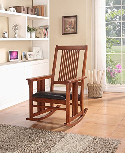 Rocking Rocker Wood Leather Chair with Mission Style in Walnut Finish