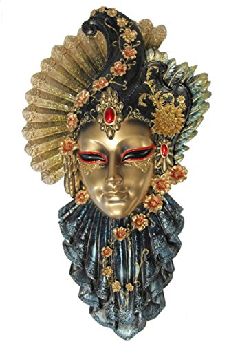 Casa Collection 11096 Elegante venezianische Maske zum Hängen mit Fächer und verschiedenen Blüten, roter Stein auf Stirn, Breite 19, Höhe 32 cm