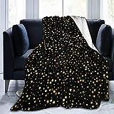 Manta de Tiro con Estrellas Brillantes, Dorado, Negro, Ultra Suave, Manta de Microfibra, súper Suave para Cama, sofá, Sala de Estar