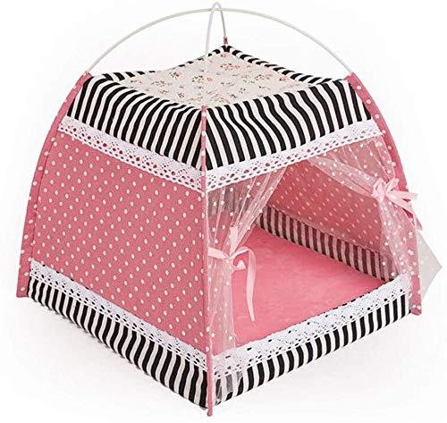 XDHN Weao Roze Wasbaar Opvouwbare Kleine Tent Kat Nest Puppy Nest Huisdier Bed Comfortabele Opslag Huisdier Supplies, Super Zachte Stof
