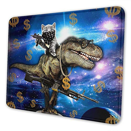 Cat Travel on Dinosaur in Galaxy Space Gaming Mouse Pad with Stitched Edges, Customized Rectangle Mousepad Non-Slip Rubber Base for Computer Laptop Office Accessories 9.5 x 7.9 Inch