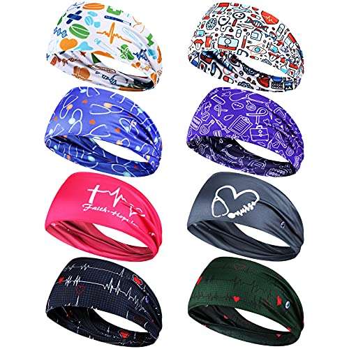 8 Pieces Nursing Headbands with Buttons for Nurses Doctors Women Face Covering Ear Protection Holder Non SlipElastic Hair Bands Wide Head Wraps for Spa Yoga Sports Workout