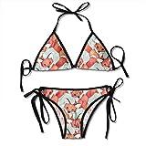 Conjunto de Bikini para Mujer Traje de Baño de Dos Piezas Cute Fox con Trajes de Baño de Cabestro con Vendaje