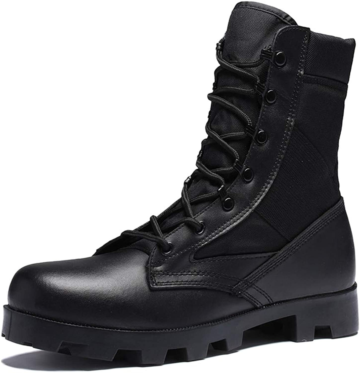 Nihiug Mens Doc Martin Boots Adult Boots Safety Boots Classic Leather Wear-Resistant High-top Military Boots