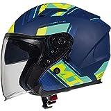 MT Avenue - Casco de moto con cara abierta, color azul mate y amarillo grande