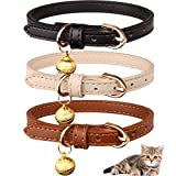 Jamktepat 3 Pack Leather Cat Collars with Bells Soft Pet Safety Collar Kitten Collars with Bell Black Chocolate Beige(XS)