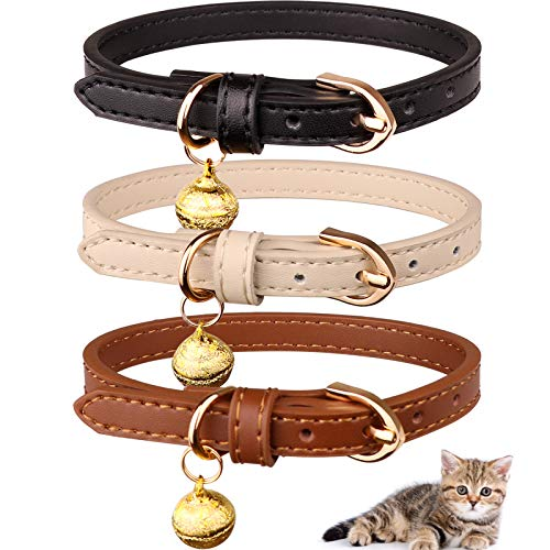 Jamktepat 3 Pack Leather Cat Collars with Bells Soft Pet Safety Collar Kitten Collars with Bell Black Chocolate Beige(S)