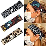 Relbcy Boho Leopard Button Headbands Yoga Hair Bands Elastic Sweat Head Wraps Mask Extender for Women and Girls (pack of 3)