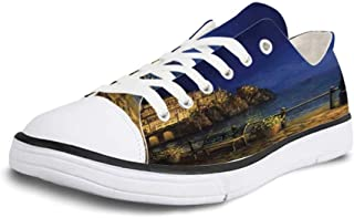 Canvas Sneaker Low Top Shoes,Italy Predil Alpine Lake North Italy Slovenian Border Julian Alps Idyllic Scenery Decorative