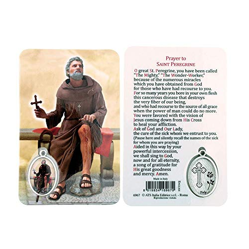 VILLAGE GIFT IMPORTERS Holy Figure Prayer Card with Medal | Saint Prayer and Medal | 8 Figures (St. Peregrine)