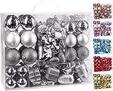 Brubaker 77-teiliges Set Weihnachtskugeln Christbaumschmuck - Kunststoff Silber