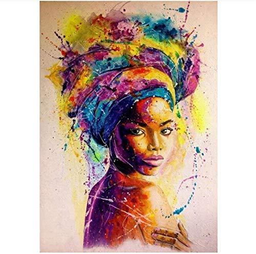 """Sunsightly Carteles E Impresiones Artísticos De Graffiti De Mujer Negra Africana Cuadros Abstractos En Lienzo Imagen De Pared para Sala De Estar Deco Dormitorio Sin Marco 60x80cm (24""""× 32"""")"""