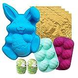 3D Pascua Huevo Conejo Forma Chocolate Silicona Conjunto De Molde, Bunny Bakeware Decoración Kit De Molde Para Pastel Jelly Pudding Candy, Azúcar Easter Artesanía,A