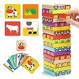 TOP BRIGHT Wackelturm Spiel aus Holz mit 51 Bausteine, Stapel Spielzeug für Kinder ab 3 Jahren,...