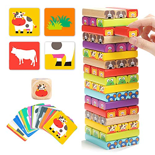 TOP BRIGHT Wackelturm Spiel aus Holz mit 51 Bausteine, Stapel Spielzeug für Kinder ab 3 Jahren, Holzspielzeug Jungen und Mädchen Geschenke