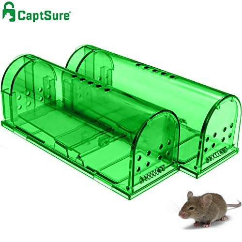 CaptSure Original Humane Mouse Traps, Easy to Set, Kids/Pets Safe, Reusable for Indoor/Outdoor use, for Small Rodent/Voles/Hamsters/Moles Catcher That Works. 2 Pack (Green)