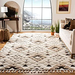Safavieh Moroccan Tassel Shag Collection MTS688A Boho 2-inch Thick Area Rug, 9′ x 12′, Ivory / Brown