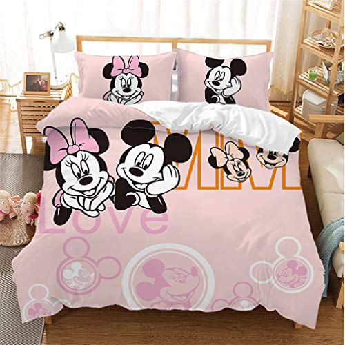 Disney Mickey & Minnie Mouse Design Double Duvet Cover Reversible Two Sided Official Love Bedding Duvet Cover With Matching Pillow Case (Mickey9,Double)