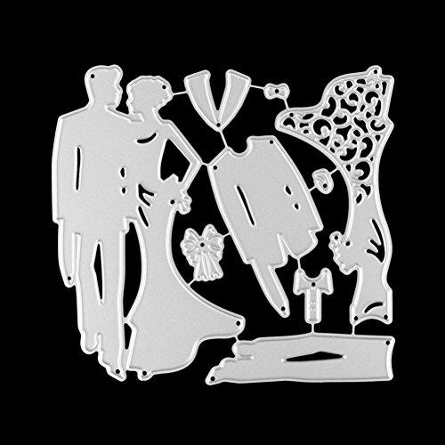 Good01 - Plantillas de Corte para Invitaciones de Boda románticas, 116 x 109 mm, Acero al Carbono, Plateado, 11.6 x 10.9cm