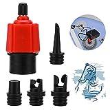 XCOZU Adaptador Inflable para Bomba de Aire Sup Convertidor para Barco Inflable, Tabla de Remo de pie, Válvulas Kayak, 4 Accesorios