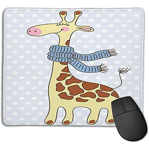 muismat muismat cartoon gelukkig giraf met sjaal december koude vrolijke sneeuw winter licht blauw licht geel glad