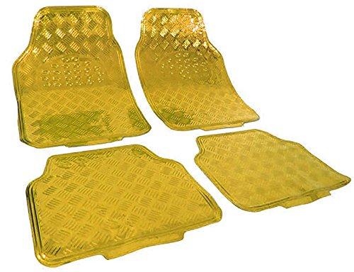 Carparts-Online 27725 Auto Gummi Fußmatten universal Alu Riffelblech Optik chrom gold Gelb
