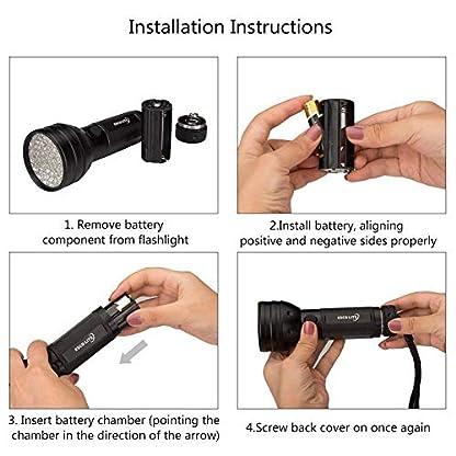 2 Pack UV Flashlight Black Light, Escolite 51 LED 395nm Ultraviolet Blacklight Detector for Dry Pet Urine and Bed Bug 2