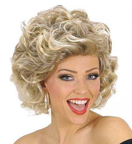 shoperama 50er 60er Jahre Grease Damen Perücke Sandy Olsson Olivia Locken Dauerwelle gelockt blond