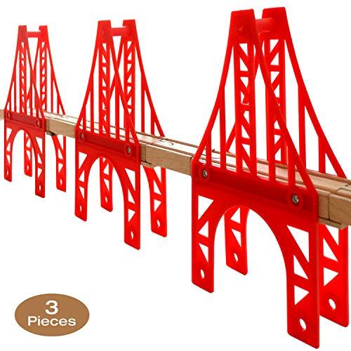 OrgMemory Train Bridge, 3 Suspension Bridge, Wooden Train Bridge, Train Tracks Compatible with All Major Brands