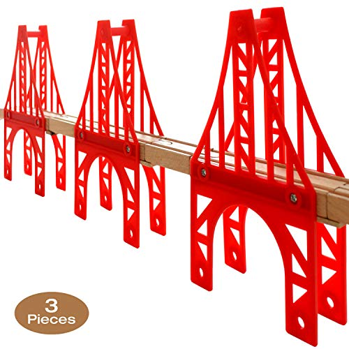 OrgMemory Eisenbahn Set, 3 Stück Hängebrücke, Holzeisenbahn Eisenbahnbrücke Kompatibel mit Anderer Marken
