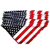 Ndier Bandera Americana del pañuelo de la Bandera Americana Impresos con Banda de Estrellas de los EEUU de Las Rayas del Abrigo de Pelo para los Hombres y Las Mujeres 12pcs