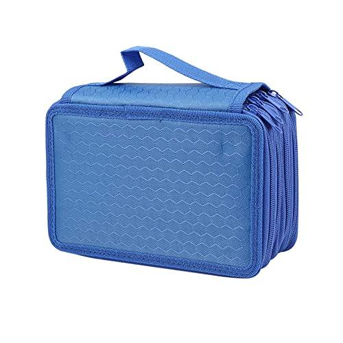 Iycorish 72 Hoyos 4 Capas Estuche De Lápiz Para Escuela Estudiante Oxford Bolsa Marcador Lápices De Colores Bolígrafos útiles Escolares Azul