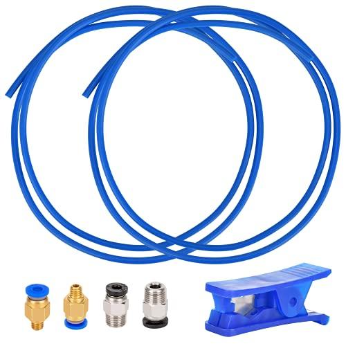 Queta 2m Tubo PTFE Teflon per Stampante 3D Filamento 1,75 mm con Raccordi 2 x PC4-M6, 2 x PC4-M10, 1 x Taglierina Tubo